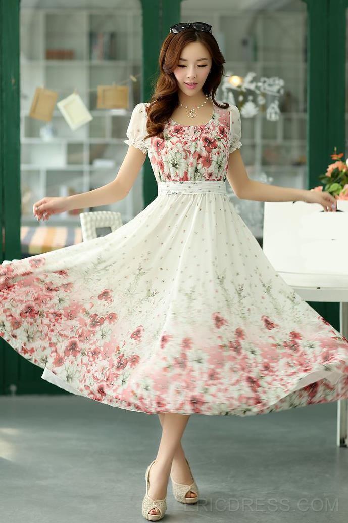 Ericdress Bohemian Vintage Print Maxi Dress Maximum Style
