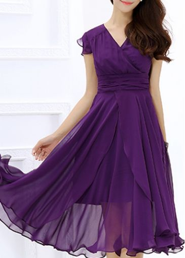 Purple Cap Sleeve Chiffon Layered Midi Dress