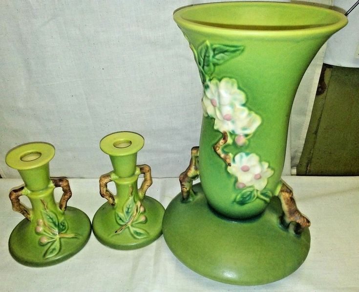 Roseville Art Pottery Apple Blossom Green Candle Holders 352-4 and Vase 388-10