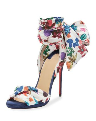 Tres+Frais+Patterned+Red+Sole+Sandal+by+Christian+Louboutin+at+Neiman+Marcus.