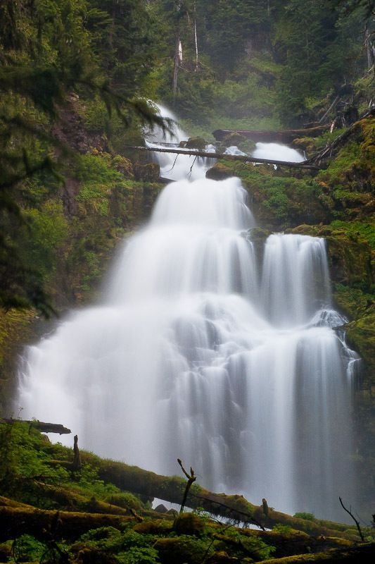 Linton Falls drains into Linton Lake which is a popular destination along the McKenzie Pass corridor. The lower falls are visible across the lake. The waterfall is very difficult to reach. Oregon