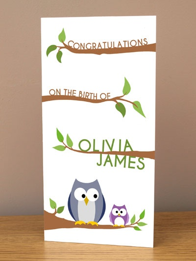 Owl Personalised new baby card. £3.99 or half price when purchased with any print.