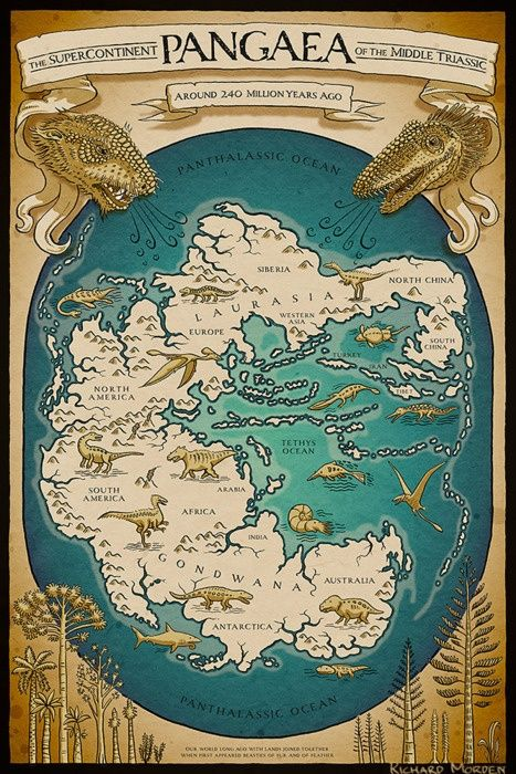 Map of the supercontinent Pangaea in the Triassic period, by Richard Morden
