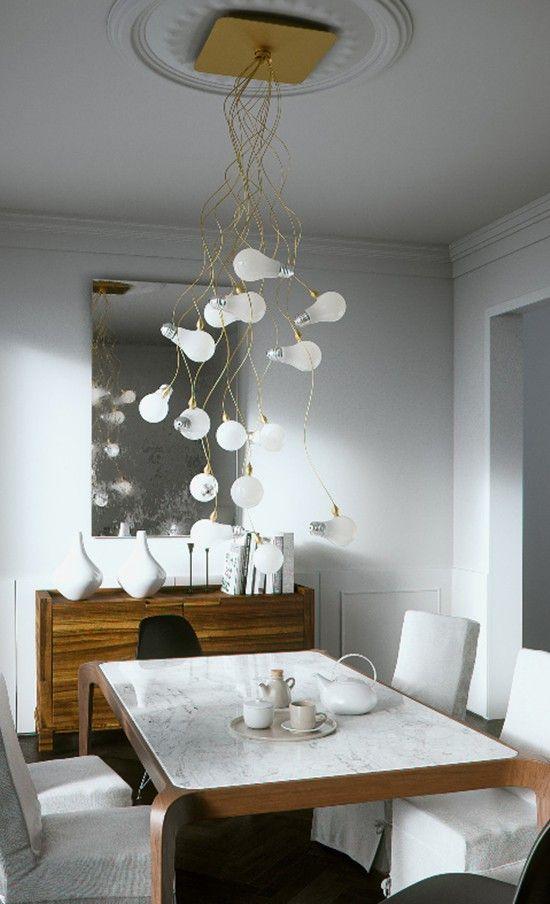 original,funky, modern, design lamp light bulb golden stairway living room décor, high ceiling lamps