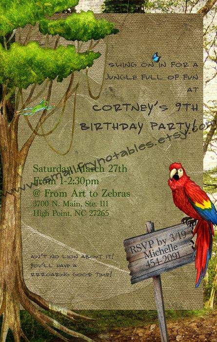 rainforest jungle theme party custom printable invitation by www.smallfrynotables.etsy.com