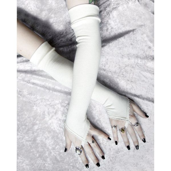 Cabriole Arm Warmers - Ivory Cream Bamboo Cotton - Fingerloops -... (49 CAD) ❤ liked on Polyvore featuring accessories, gloves, gothic, victorian, cream gloves, long ivory gloves, arm warmer gloves, yoga gloves and ivory gloves