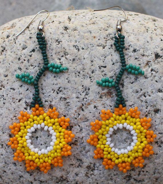 Handmade Sunflower Beaded Earrings