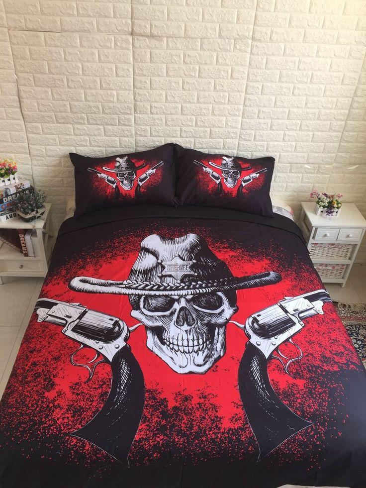 3D Skull Gun Bedding Set    #Skull  #fashion #bedding #homedecor #home #pillows #bedroom #bed #bedroomdecor #hobbylobbystyle