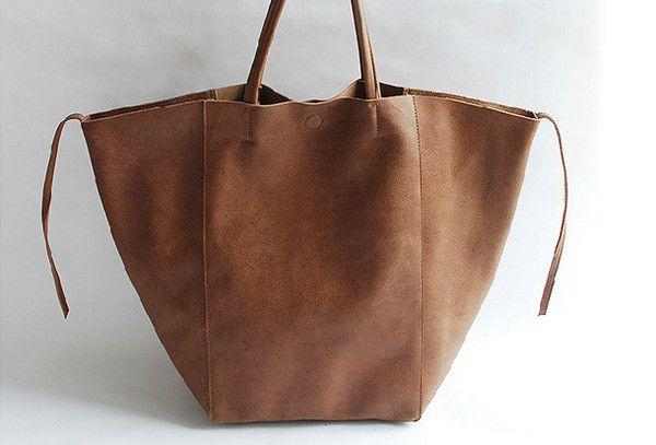 Handmade vintage modern leather large big tote shoulder bag handbag for women