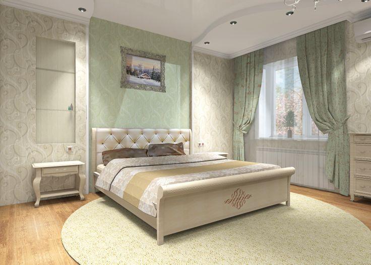 Спальная в спокойных тонах.