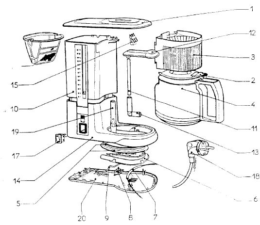 Vitesse Coffee Maker Exploded View