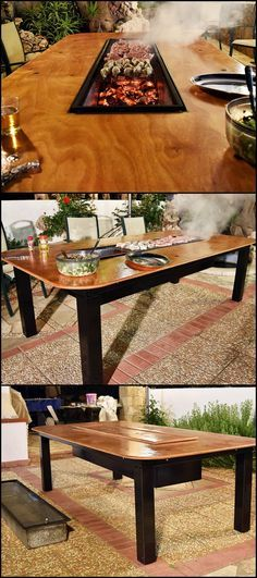 If your idea of a good time is enjoying barbecue fresh off the grill and ice cold beer with family and friends, then this barbecue grill and table combo is perfect for you!  http://diyprojects.ideas2live4.com/2016/04/20/how-to-build-a-barbecue-grill-and-table-combo/  It can easily seat 12, sturdy and may be used in all seasons.   No one will miss out on great conversations by having to man the grill. Everyone can laugh and watch the food on the grill while swapping stories over dinner.