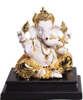 Mukut Ganesh Small Price: Rs 2,500 Marble look with Colored Electroplating. Made of Polystone.