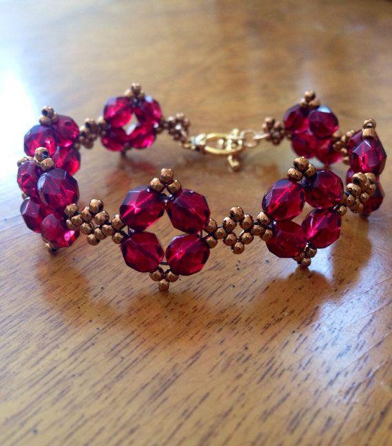 Bronze and ruby red czech bracelet, garnet bracelet, ruby bracelet, marsala bridesmaid's gift, red czech jewelry, ruby wedding