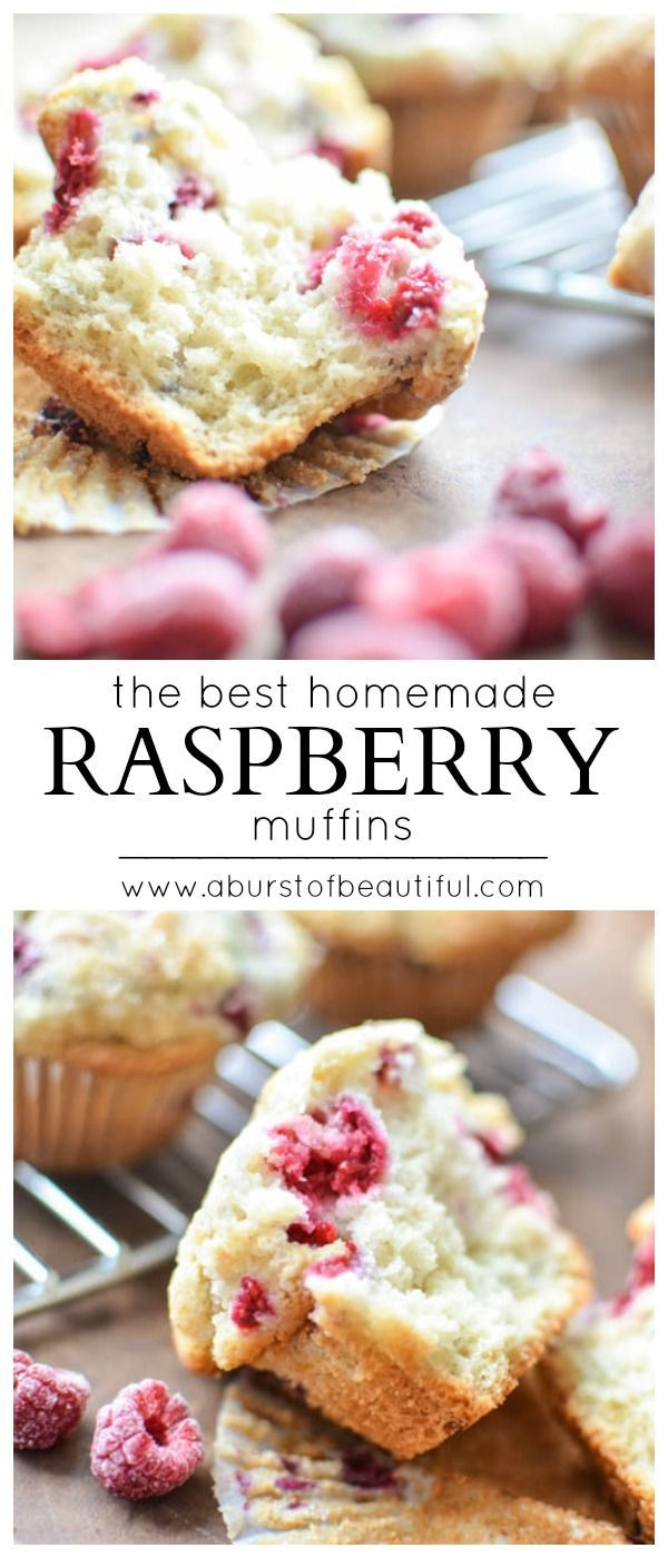 These homemade raspberry muffins are light, fluffy and bursting with juicy raspberries. They are a family favorite any time of the year | A Burst of Beautiful