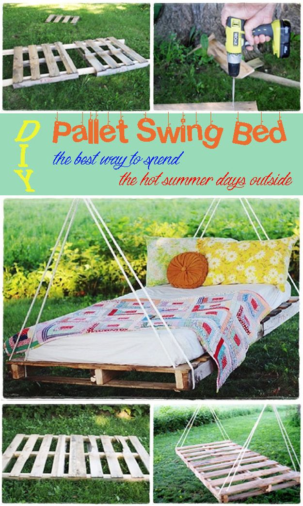 DIY Pallet Swing Bed | Cool Outdoor Pallet DIY Furniture Projects by DIY Ready at  http://diyready.com/diy-pallet-projects-outdoor-furniture/