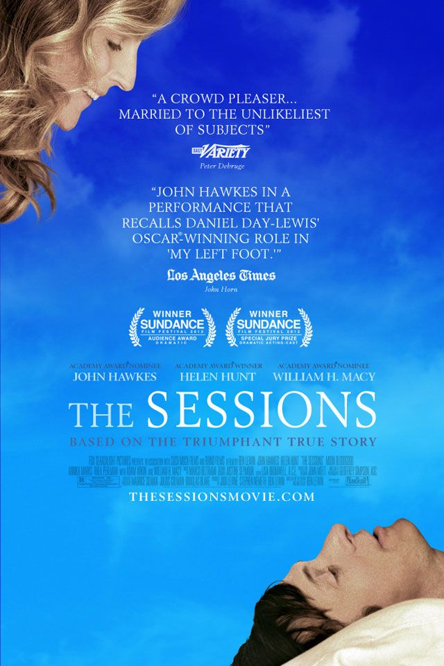The Sessions. Well done.  Helen Hunt was amazing... It is a sensitive and realistic portrayal of one man's work with a sexual surrogate. You'll laugh, you'll cry - it's everything a movie should be.