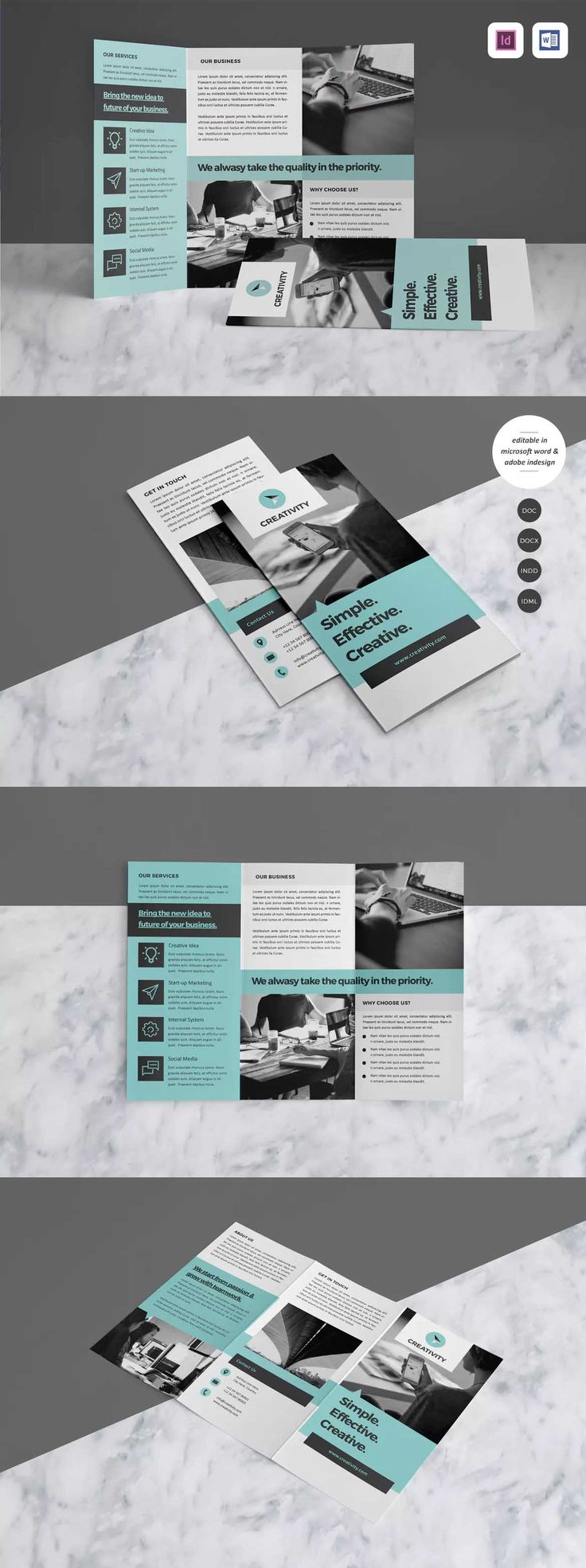 Trifold Brochure Template InDesign INDD A4