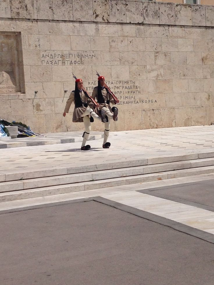 Evzones in front of the Greek Parliament.