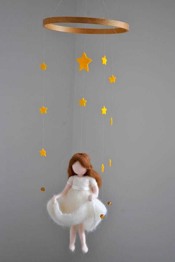 The star money maiden Fairy tale Waldorf inspired doll mobile: Girl with stars