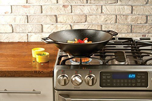Lodge Cast Iron Wok Black 14 inch Non Stick Food Cooking Home Kitchen Cookware #Lodge