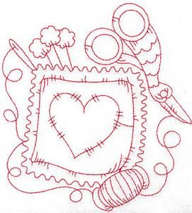 sew- add name to centre of heart for name tag