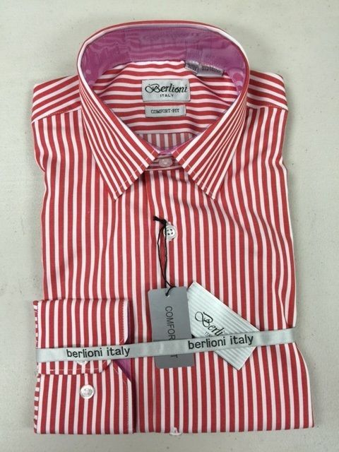 Berlioni 100 cotton red white striped mens dress shirt for Mens red and white striped dress shirt