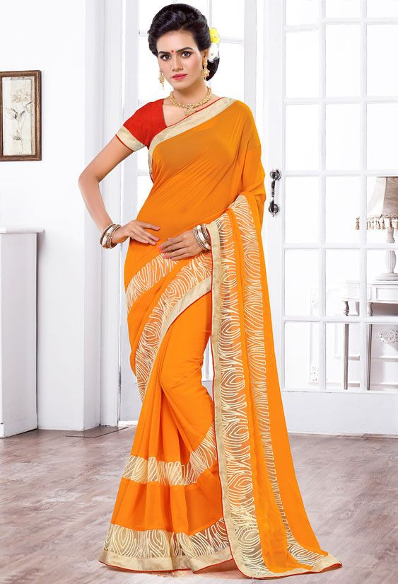 Golden Orange Chiffon Saree