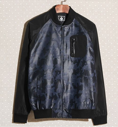 $55.24 -- Men Casual Jackets 2014 Autumn New Jackets Color Block Camouflage Pattern Baseball Neck Casual Dark Blue Jackets M-XL Discount Online Shopping