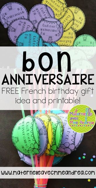 Bonne fête à toi! Free gift for your students on their birthdays!