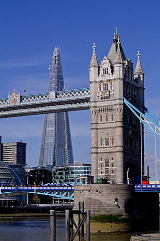 Shard with Tower Bridge, London, England, United Kingdom, Europe
