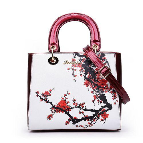 Elegant Shoulder Bag Crossbody A Vintage Women Leather Handbag Flower…
