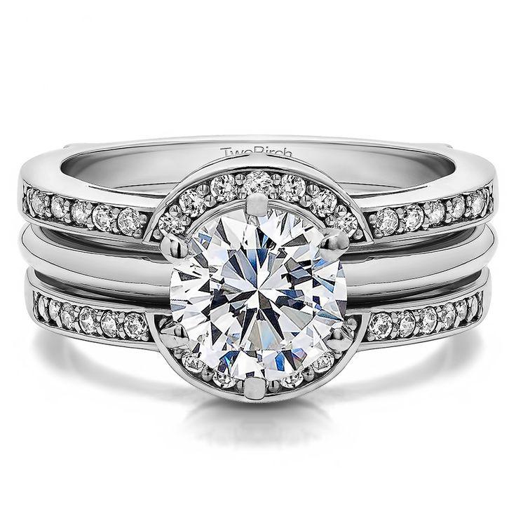 halo princess engagement wedding ring guard