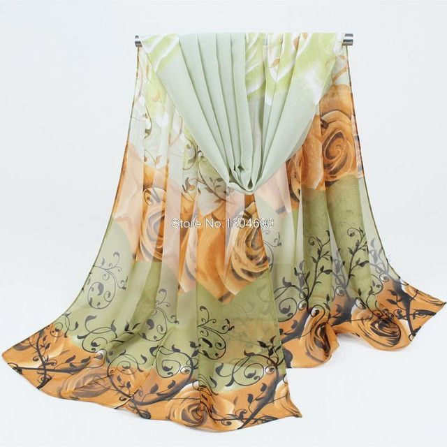 from india promotion 2017 rose print chiffon scarves woman thin shawl turban belt wholesale hijab fashion arabic scarfs wrap qsr