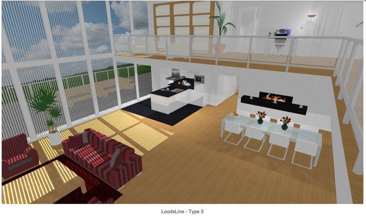 mogelijke indeling keuken, eetkamer, zithoek