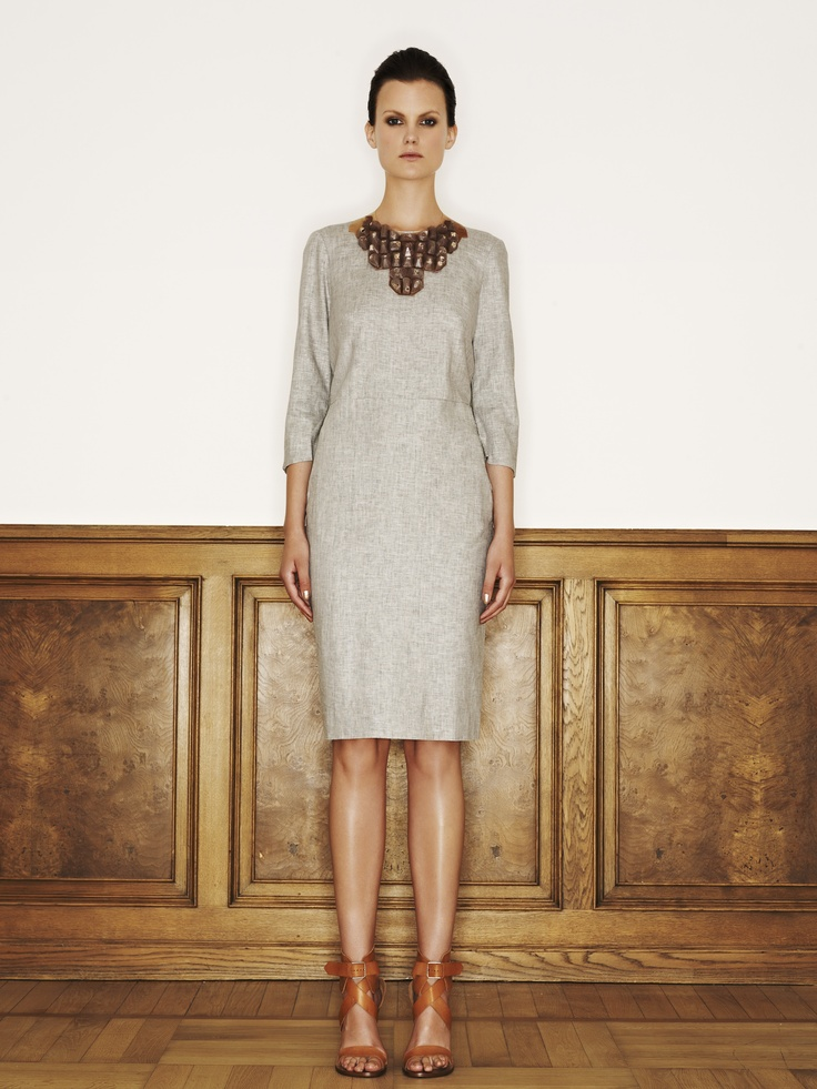 Rützou linen rayon dress with pockets in cement grey