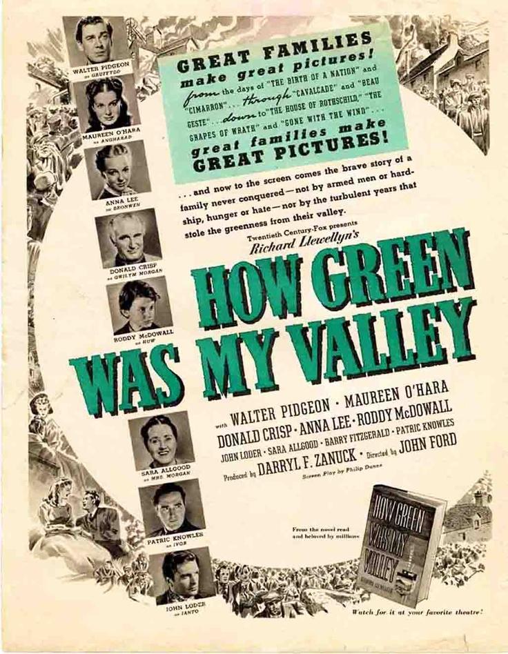 Top Ten cine de trabajadores: «Qué verde era mi valle» (How green was my valley, 1940, John Ford) es la historia de un pueblo minero de Gales centrado en una familia orgullosa de que todos sus miembros sean mineros, pero que deben enfrentarse tanto a la bajada de salarios, como a la negativa de su padre a unirse a los sindicatos para reivindicar sus derechos... vamos, cine de derechas.