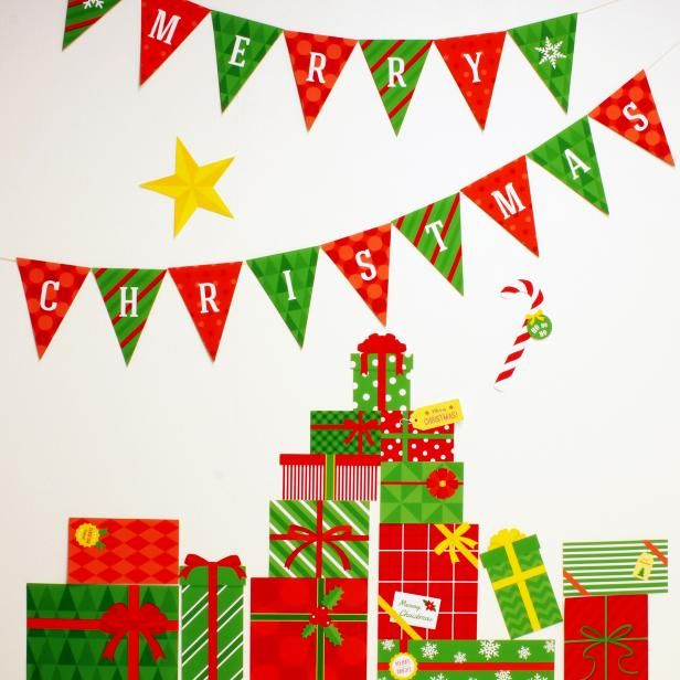 簡単・無料ダウンロードのクリスマスウォールステッカー!✧*。ヾ(。>﹏<。)ノ゙✧*。 飾りつけのポイントに、紙なので軽くてカワイイんです〜♪