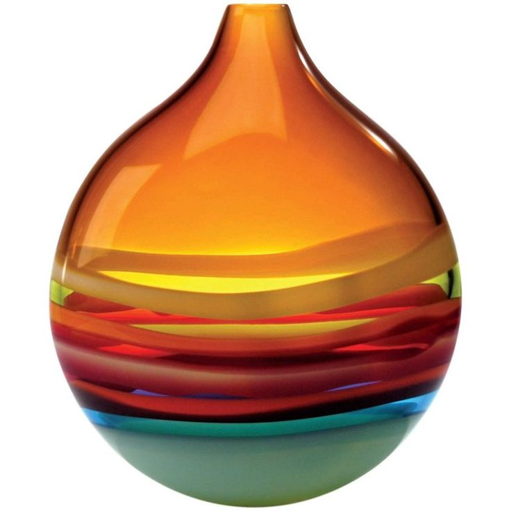 Large Amber Orange Glass Flat Round Vase by California Designer Caleb Siemon   From a unique collection of antique and modern vases and vessels at https://www.1stdibs.com/furniture/decorative-objects/vases-vessels/