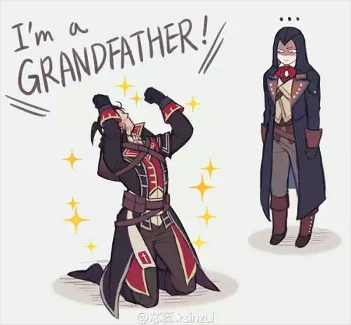 Shay: I'M A GRANDFATHER <3 Arno: Yeahhhhh... you still betrayed the creed...
