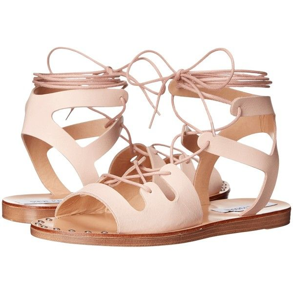 Steve Madden Rella (Blush Leather) Women's Sandals found on Polyvore featuring shoes, sandals, pink, platform gladiator sandals, pink gladiator sandals, studded sandals, leather gladiator sandals and leather lace up sandals
