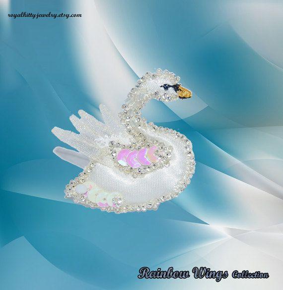 Swan brooch bird brooch Bird Textile Brooch by RoyalKittyJewelry