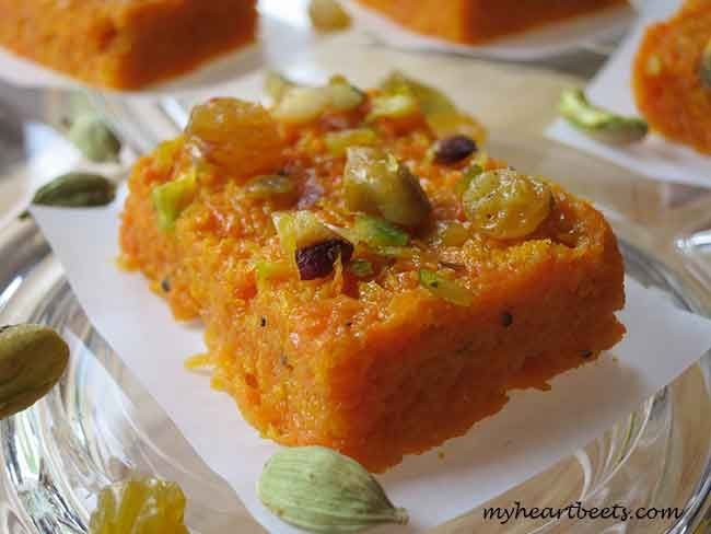 "Carrot Fudge (Indian Gajar Halwa Mithai) - (Or it can be made into a carrot pudding. This is a dessert, but I'm wondering if I can alter it into a side dish by leaving out the honey and using maybe a dash of garam masala or... - It would be fun to have ""fudge"" as a side.)"