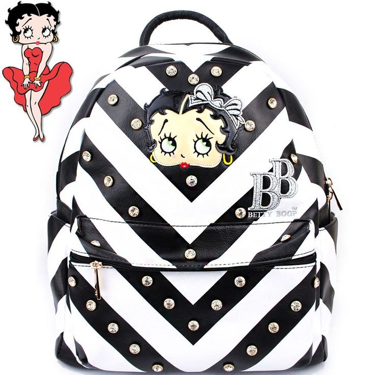 This Betty Boop® Rhinestone Studded Backpack features: - Betty Boop® surrounded by rhinestone studs and rhinestones with Betty Boop® logo and image. - Chevron style print. - Multiple compartments for