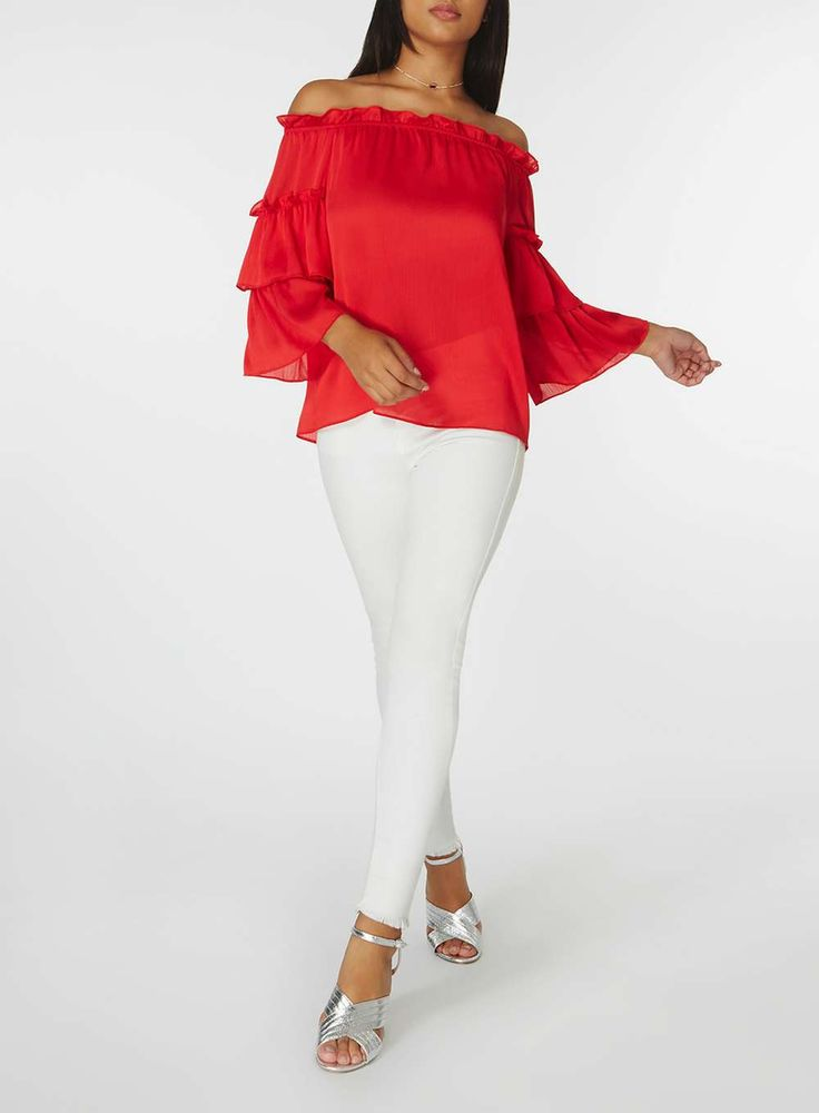 Womens Red Puff Sleeve Bardot Top- Red