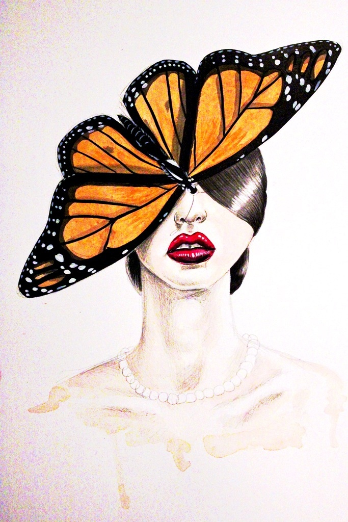 Butterfly Lady.  Graphite and gouache on paper. 2011.
