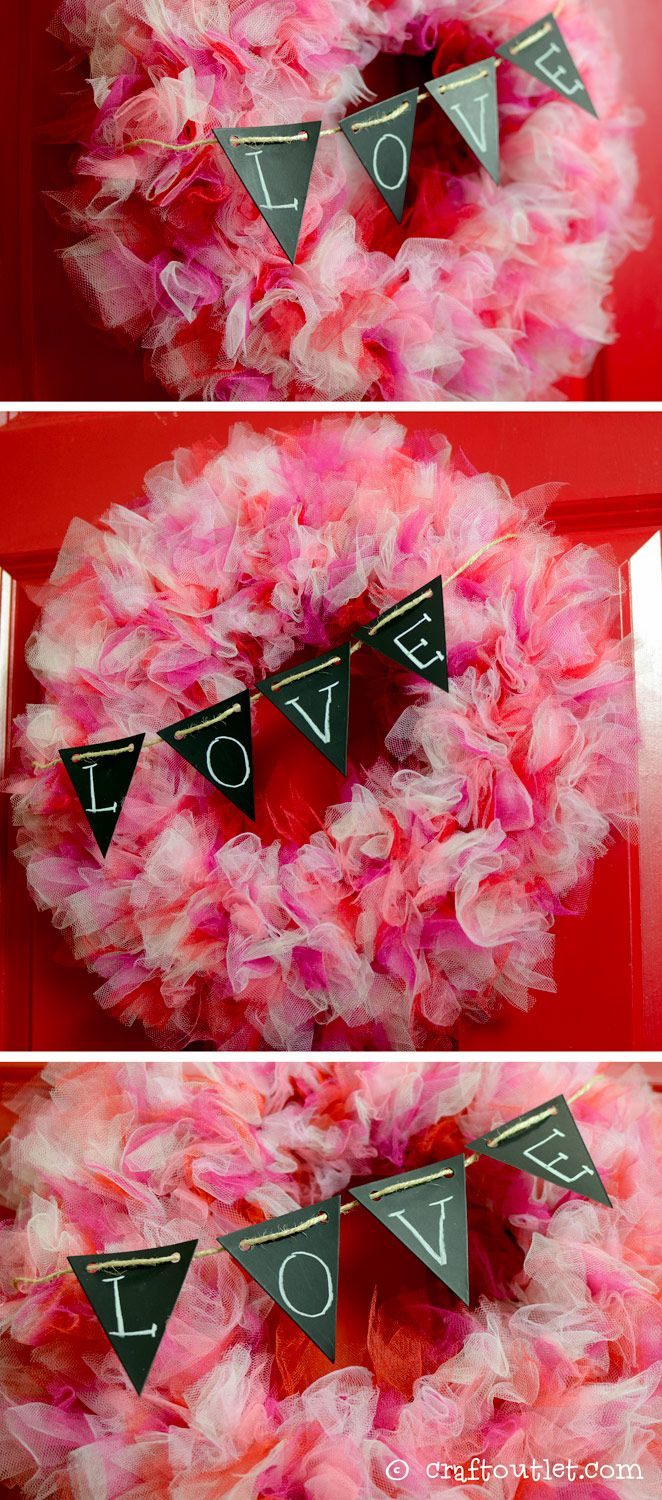 Fluffy Tulle Valentine's Day Wreath DIY from CraftOutlet.com!