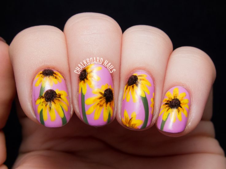 The Lacquer Legion Garden: Black-Eyed Susan 3D Floral Nail Art | Chalkboard Nails | Nail Art Blog