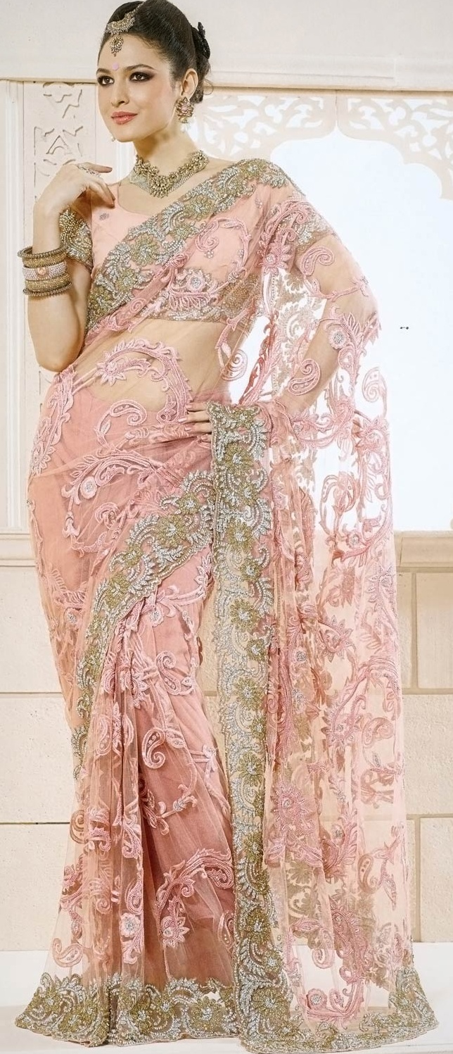 Pastel #Pink Net #Saree with Blouse @ $340.48