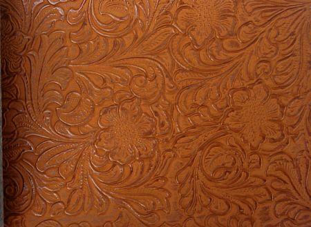 Imitation Hand Tooled Leather Embossed Vinyl Upholstery